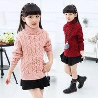 Fille vêtements d'hiver 6-14 ans grande fille chaud chandail enfants nouveau col roulé plus pur couleur épais enfants rose chandail de détail