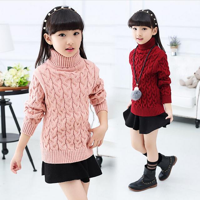 Niña ropa de invierno 6-14 años niña grande suéter caliente niños de nueva jersey de cuello alto de color más puro grueso kids pink suéter al por menor