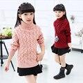 Roupas de inverno menina 6-14 anos grande menina quente crianças camisola nova de gola alta cor mais pura de espessura crianças rosa camisola de varejo
