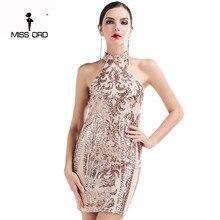 Missord 2017 Сексуальная О-Образным Вырезом без рукавов Ретро шаблон блесток dress FT4729