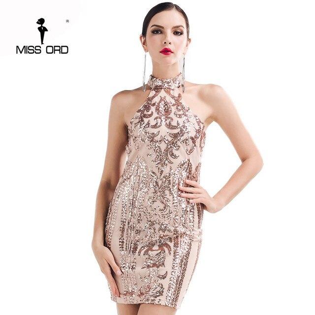 Missord 2017 сексуальные o-образным вырезом без рукавов Ретро узор блесток платье FT4729