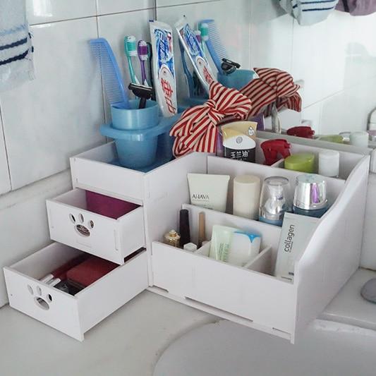 Bedroom office 7 lattice double drawer cosmetics storage box desktop wood plastic board groceries storage bins