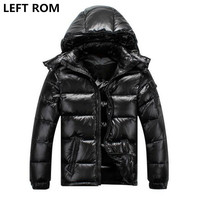 LEFT ROM Man Couples Winter Fashion Leisure Hooded Thickening Warm Slim Pure White Duck Down Upscale