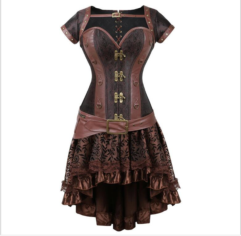 <font><b>halloween</b></font> <font><b>costumes</b></font> <font><b>for</b></font> <font><b>women</b></font> <font><b>Sexy</b></font> Gothic Steampunk Corset Dress Leather Overbust Corsets and Bustiers Skirt Party Waist Trainer image