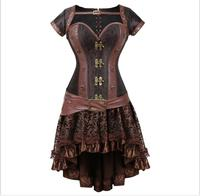 halloween costumes for women Sexy Gothic Steampunk Corset Dress Leather Overbust Corsets and Bustiers Skirt Party Waist Trainer