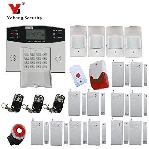 цены YobangSecurity  Wireless GSM Home Alarm System Door Alarm Sensor PIR Detector Wireless Strobe Siren Spanish Russian Cezch Voice