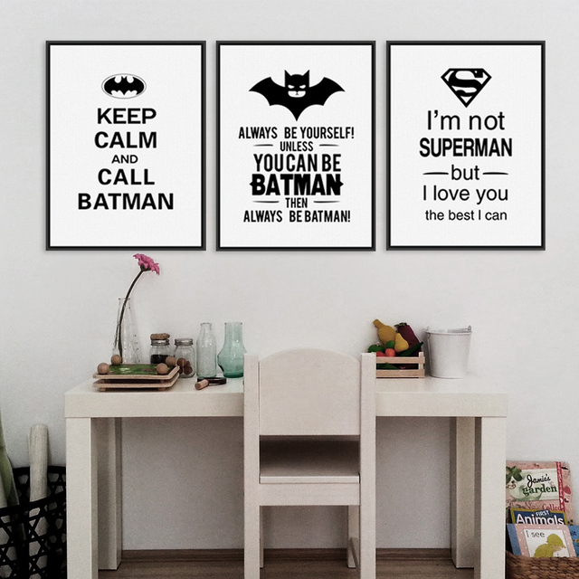 Superhero Batman Art Prints Poster Black White Typography Quotes Wall Picture Kids Room Baby Boy Decor