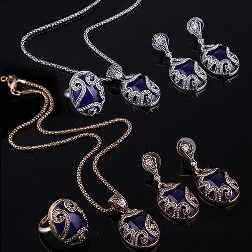 Hochzeits- & Verlobungs-schmuck Förderung Big Runde Sky Blau Zirkonia 925 Silber Kostüm Schmuck Sets Für Frauen Runde Armband Halskette Ohrringe Ring