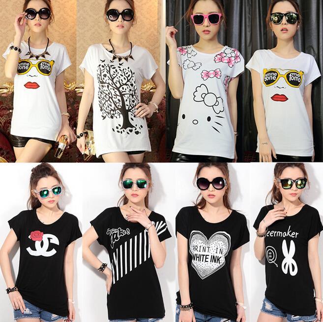 2cdc5c742 Mujer nueva moda señora de la manga corta camisetas estampadas para mujer  tapas de dibujos animados T transversal de la señora camisetas en Camisetas  de La ...