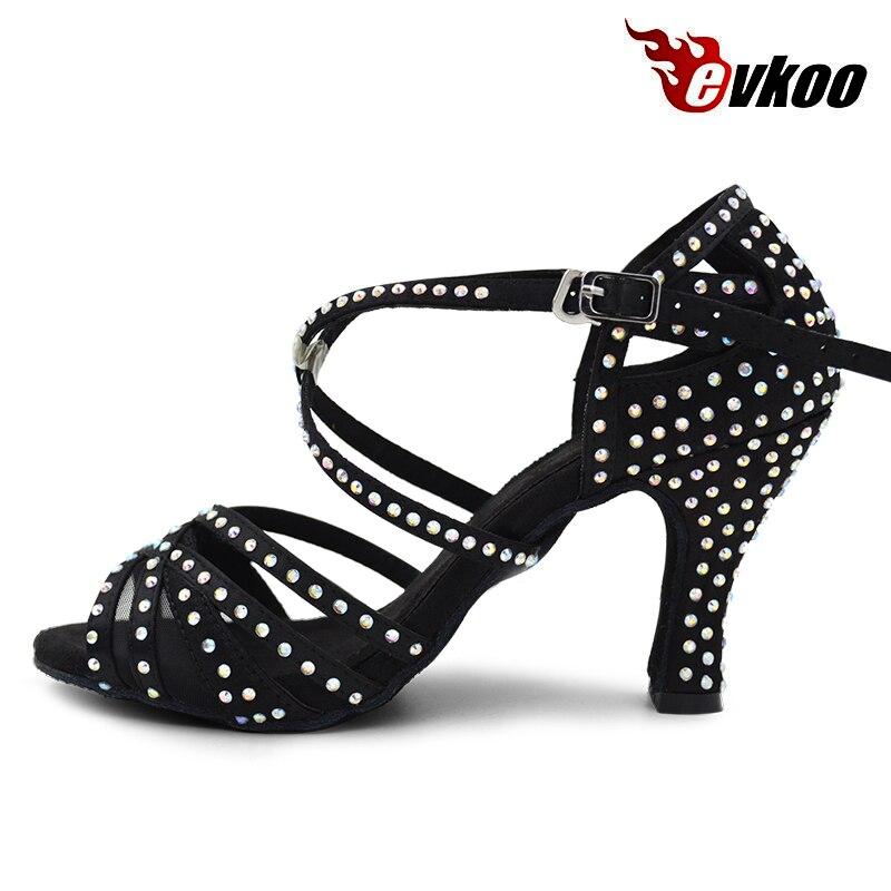 Evkoo танцы Professional Zapatos De Baile Latino Черный со стразами Высота каблука см 8 см для женщин костюмы для латинских танцев Salsa обувь Evkoo-412