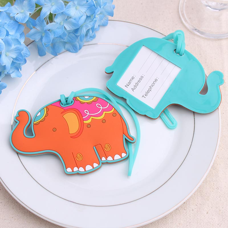 (100pcs/Lot)FREE SHIPPING+Unique Design Rubber Elephant Luggage Tag Baby Shower Favor Wedding Baggage Tags Bridal Shower Favors