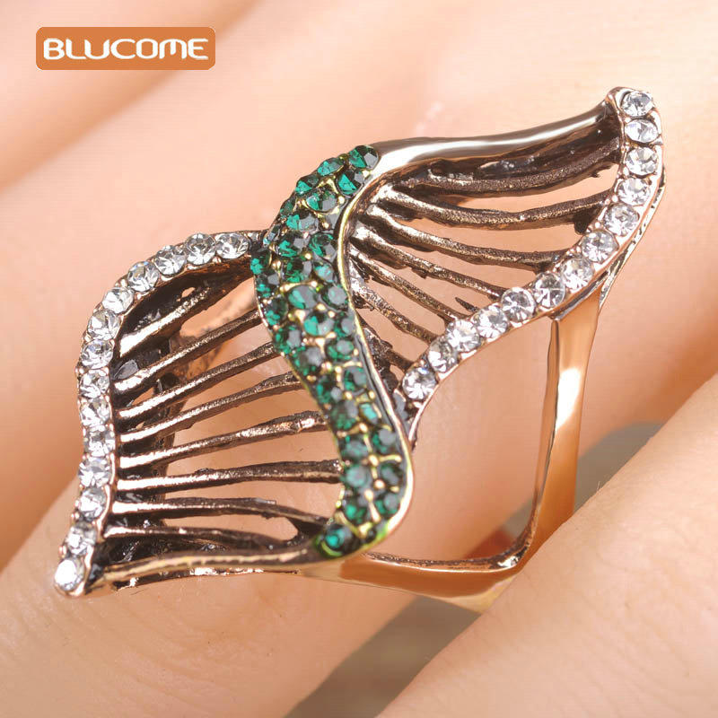 Blucome Hollow Vintage Rings For Women Antique Gold Color Unique Design Full Austrian Crystal Party Wide Rings Turkish Aneis