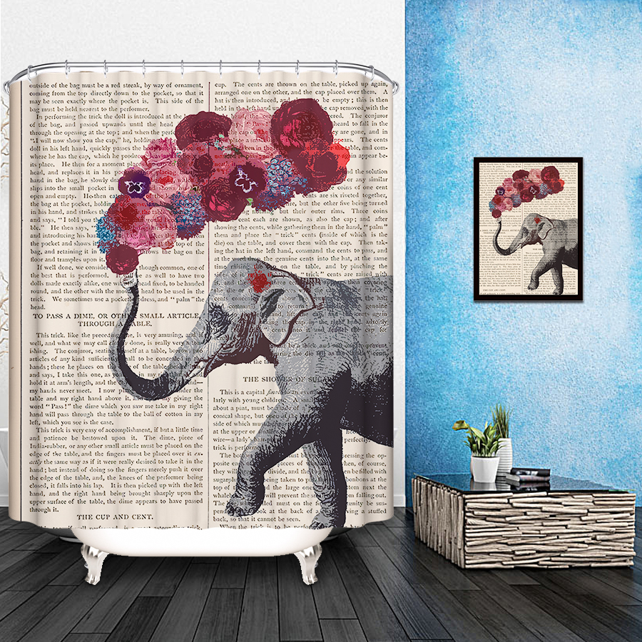 IBANO New Colorful Eco Friendly Polyester Fabric Shower Curtain Elephant Gift Bathroom Decor Waterproof With
