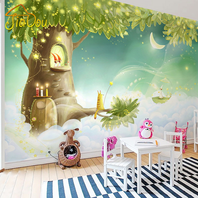 Children's Room Dream Cartoon Background Custom 3D Photo Wall Paper Rolls Romantic Living Room 3D Mural Wallpaper For Kids Room custom 3d mural wallpaper european style painting stereoscopic relief jade living room tv backdrop bedroom photo wall paper 3d