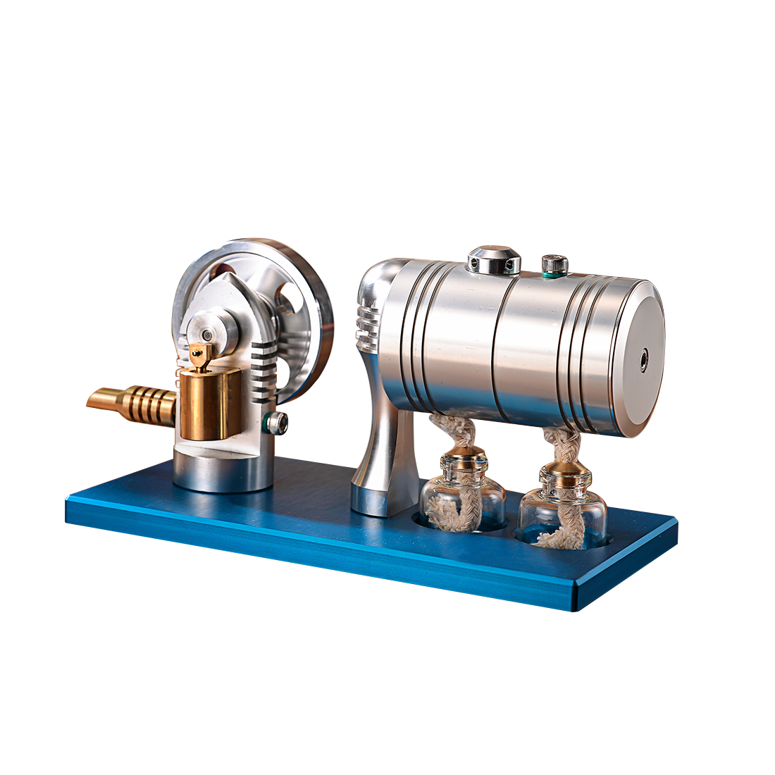 Metal Bootable Steam Engine Model Retro Stirling Engine Model with Heating Boiler Alcohol Burner