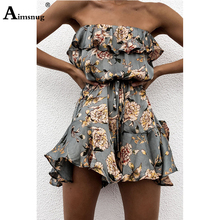 Women Rompers Flower Print Ruffles Jumpsuit Summer Short pleated Overalls Female chest wrapped strapless Playsuit