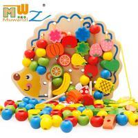 wooden games Beaded threading children's educational early education toys wooden blocks hedgehog fruit skewers