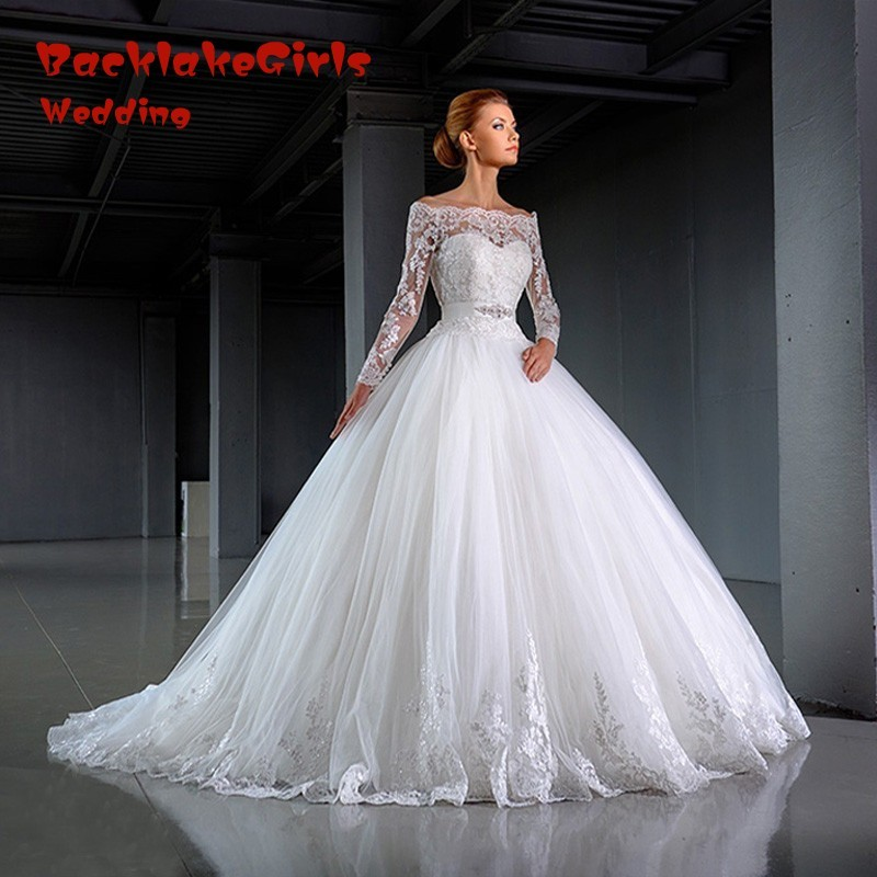Vestido de noiva Long Sleeve Lace Boat Neck Ball Gown font b Wedding b font font