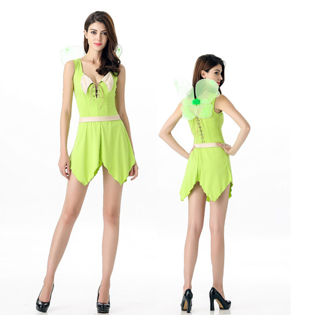 sexy Deluxe Green Tinkerbell Fairy Costume Tinker Bell Princess Dress Halloween green elf Cosplay Clothing Medieval  sc 1 st  AliExpress.com & sexy Deluxe Green Tinkerbell Fairy Costume Tinker Bell Princess ...