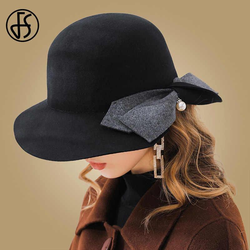 8d9650aba34 FS Black Pink Wool Felt Women Fedoras With Bowknot Pearl Wide Brim Winter  Hats Vintage Cloche