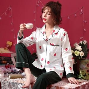 Image 4 - Frauen Schlaf Lounge Elegante Floral Pyjama Set Herbst Baumwolle Hemd und Hose Zwei Stücke Nachtwäsche Sexy Mantel Set Casual Homewear
