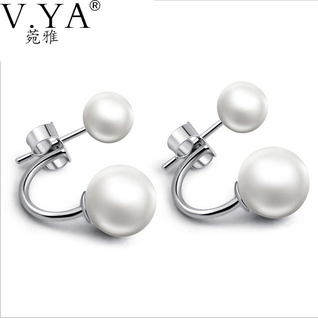 Double Simulated Pearl 925 Sterling Silver Earring 100 Real Pure S925 Solid S