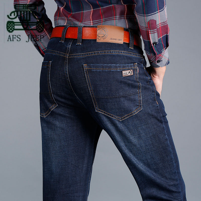 ФОТО AFS JEEP Big Back Pocket Mid Waist Cotton Casual Full Length Jeans, Cowboy's Plaid Cotton Blue Color Straight Fashion trousers