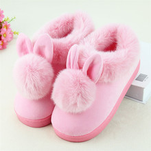 Mrs win Cotton Slippers Home Warm Snow Winter Shoes Thick Barreled Home Floor Slippers Women Cute Bunny Ear Shoes