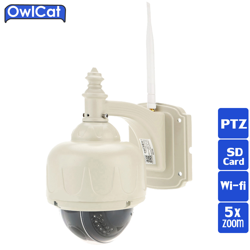 OwlCat FULL HD Outdoor Waterproof CCTV Security Camera 960P 1080P PTZ WIFI IP Camera Wireless 5X Zoom Auto Focus IR-cut SD Card 402 189 139mm gray white outdoor waterproof cctv camera housing aluminum abs casing for cctv security zoom box body camera