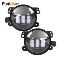 Black 4 Round LED Fog Light For Jeep Wrangler JK High Power 4 LED Fog Lamp