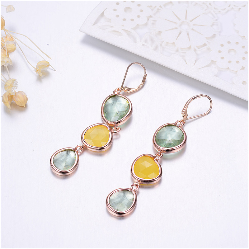 New Design Dangle Long Earrings Fashion Jewelry Charms Colorful Crystal Stone Copper Drop