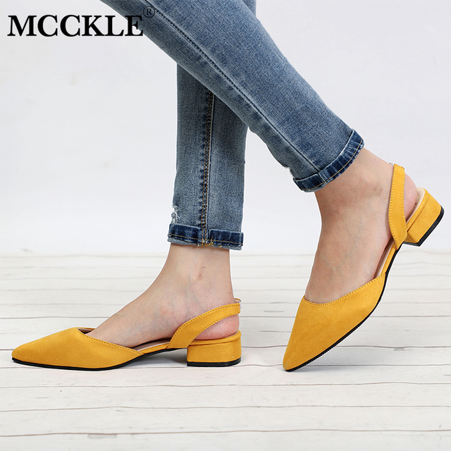 MCCKLE Women Shoes Slingback Summer Sandals For Female Flock Casual Footwear Pointed Toe Elegant Low Heels Party Wedding Shoe