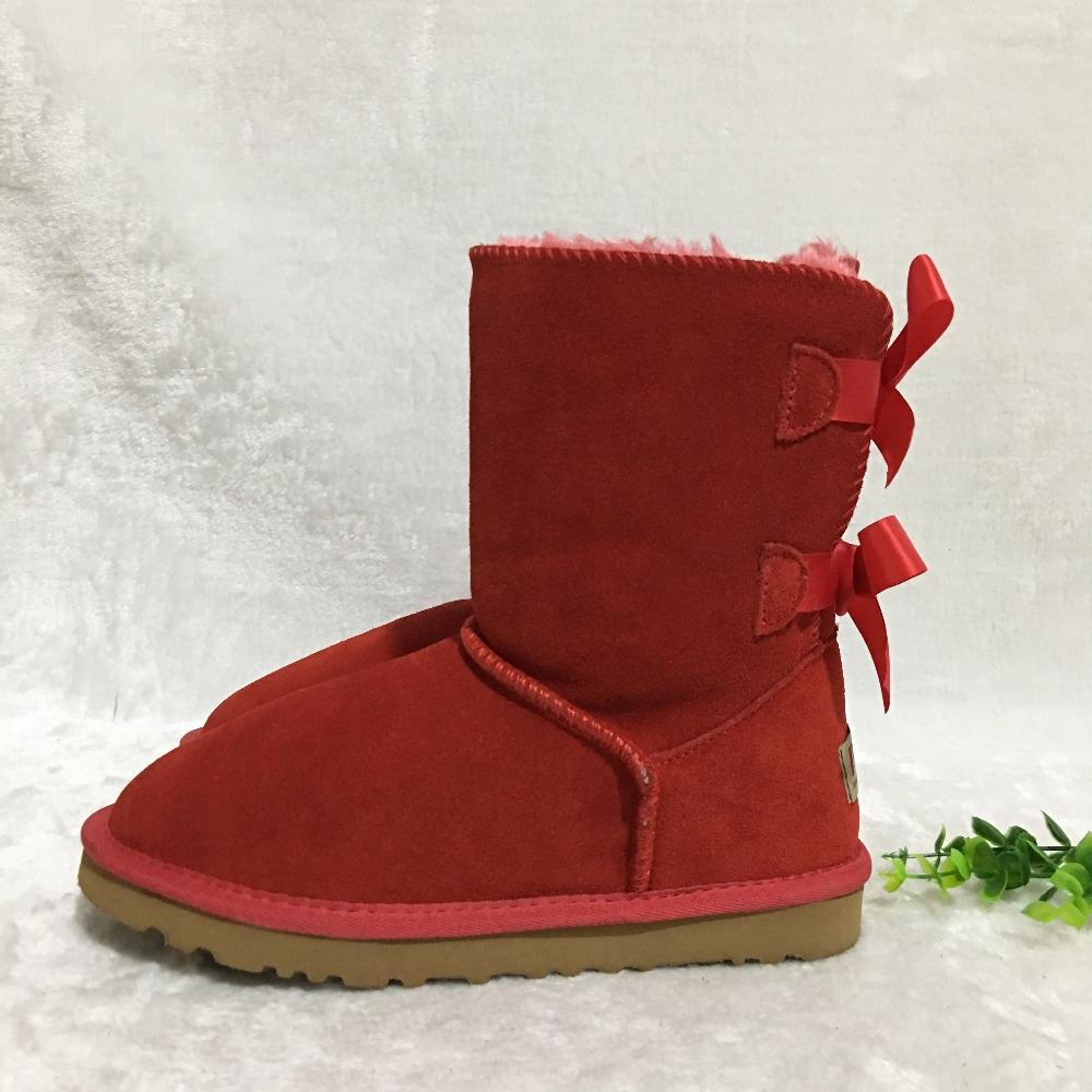 Женские зимние сапоги в австралийском стиле, зимние сапоги с 2 бантами сзади, Брендовая обувь из натуральной воловьей кожи, могут быть выпол...