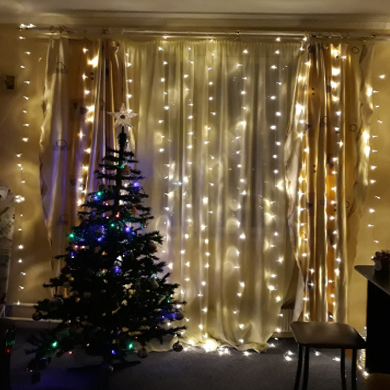 4.5*3m 300LED Christma Lights Outdoor Indoor Fairy Curtain String Lamp with Pendant Wedding Christmas Decorations for Home Party