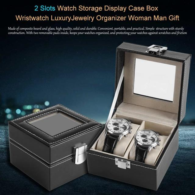 2e29d6d28 2 Slots Watch Storage Display Case Box Wristwatch Luxury Jewelry Organizer  Woman Man Gift-in Watch Boxes from Watches on Aliexpress.com