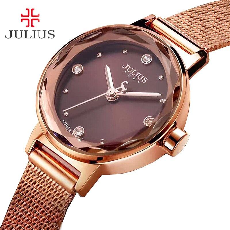 Prix pour Acier inoxydable simple de coupe en verre de femmes montre japon quartz heures de mode robe bracelet d'anniversaire fille cadeau julius boîte 917