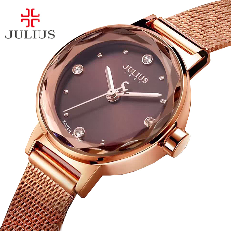 Stainless Steel Simple Cutting Glass Women's Watch Japan Quartz Hours Fashion Dress Bracelet Birthday Girl Gift Julius Box 917 glass girl