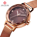 Stainless Steel Simple Cutting Glass Women's Watch Japan Quartz Hours Fashion Dress Bracelet Birthday Girl Gift Julius Box 917