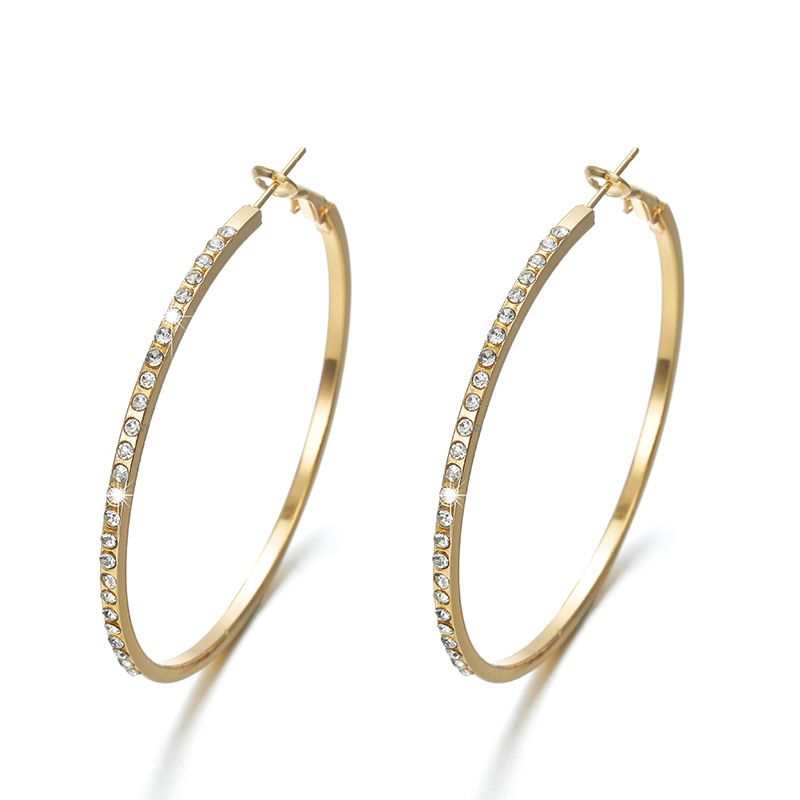 Wedding Party Gift For Women Girls Fashion Jewelry big hoop earrings 2019 Trendy Gold Big Round Loop Earring with Rhinestone in Hoop Earrings from Jewelry Accessories