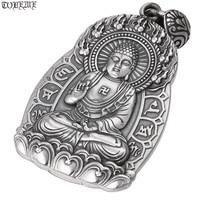 Real 100% 990 Silver Vairocana Buddha Statue Amulet Pendant Vintage Pure Silver Buddhist Buddha Pendant Tibetan Buddha Pendant