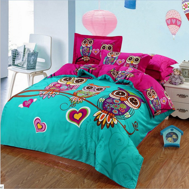 Luxury owl Cartoon 100% cotton Bedding Sets Bohemia kids Duvets Cover set 4pcs queen/king size Boho Bed set linens