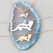 Подвеска хорька, персонализированный ласка, животное, выгравированное имя хорька, ожерелье для женщин, медное животное, ювелирное изделие YP6352