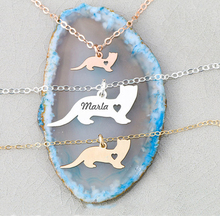 Ferret Charm Personalized Weasel Pet Engraved Name Necklace Women Copper Animal Jewelry YP6352