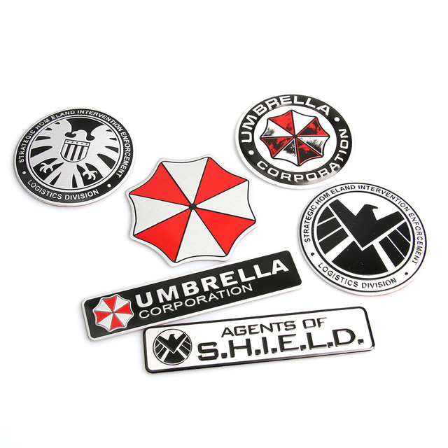 3d stickers aluminum umbrella corporation car sticker and decals 2 types car styling 3d car decor