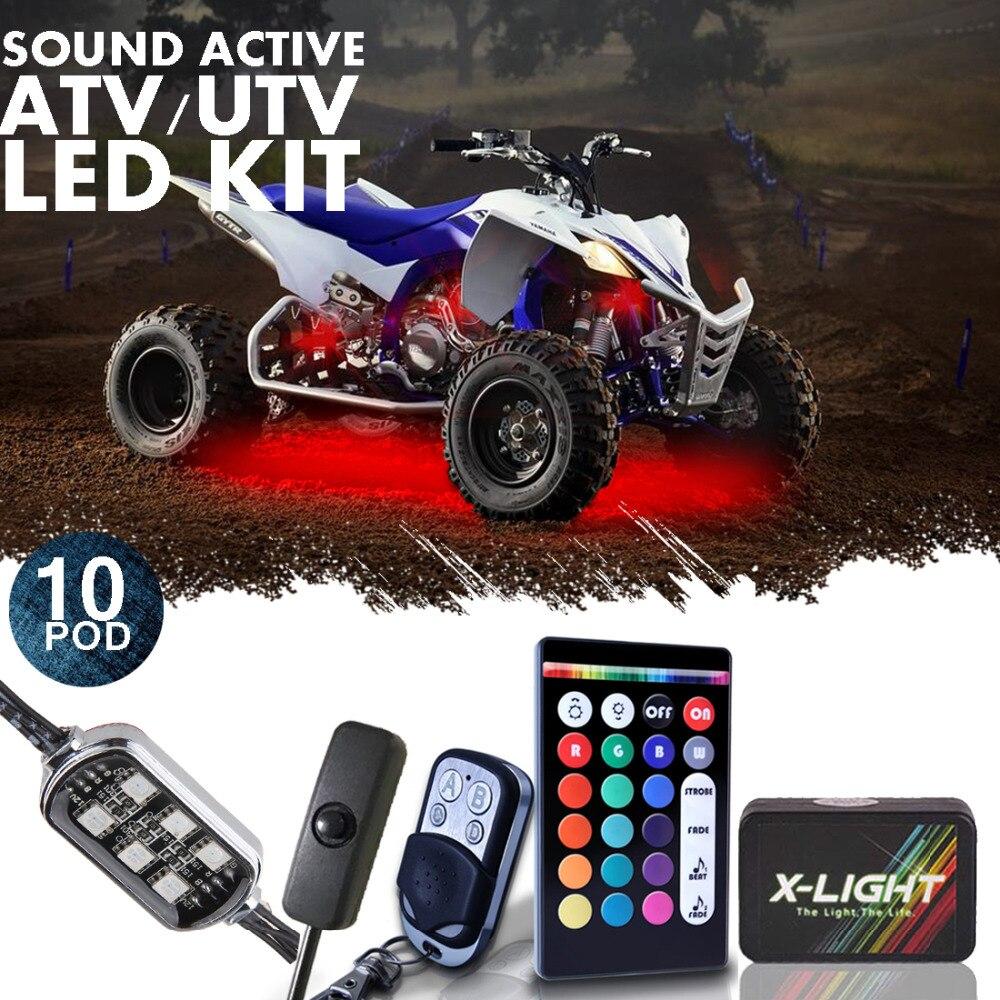 X-свет акцента СИД неоновый свет Комплект для ATV/utv с двойной беспроводных пультов музыка Actice и функция тормоза 18+ Цвет