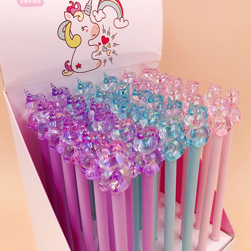1PC Cute Unicorn Pens Novelty Neutral Pens Kawaii Crystal Gel Pens For Kids Gift School Office Supplies Stationery