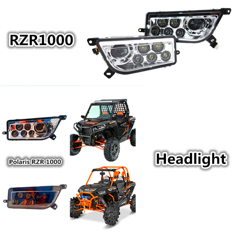Polaris RZR 1000 ATV UTV Chrome Hitam LED Headlight Polaris RZR 900 - Lampu mobil - Foto 1