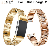 Metal watch band For Fitbit Charge 2 watches strap Rhinestone bands replacement for wristband Straps bracelet