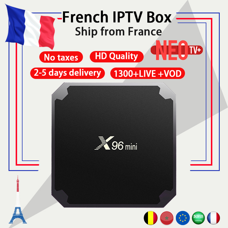 French IPTV X96mini 4k Android TV Box 7.1 with 1300+ NEO IPTV Europe French Arabic Spain Tunisia Morocco PayTV Smart Set top Box