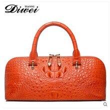 diwei 2017 new hot free shipping leisure lady real crocodile skin women bag shells female bag leather handbag shoulder bag
